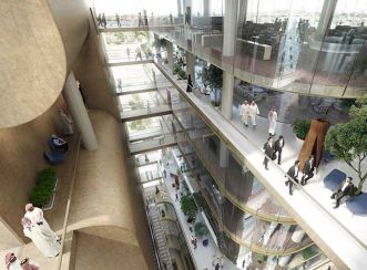 Abdul Latif Jameel Corporate Headquarters atrium view (Courtesy: Aedas)