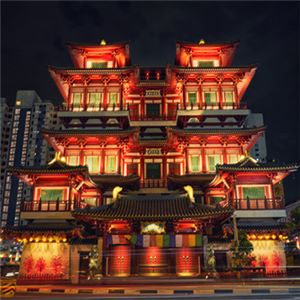 Buddha Tooth Relic Temple front night view