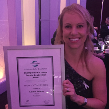 Louise Adams received a High Commendation for the Champions of Change Award – Female Leadership