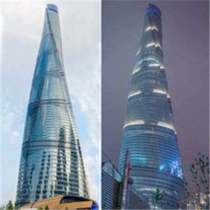 Shanghai Tower in the day (left) and at night