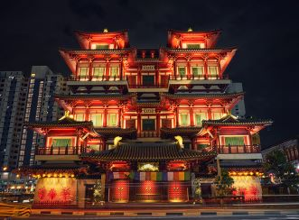 Buddha Tooth Relic Temple at night - AFTER