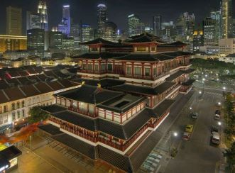 Buddha Tooth Relic Temple at night - BEFORE