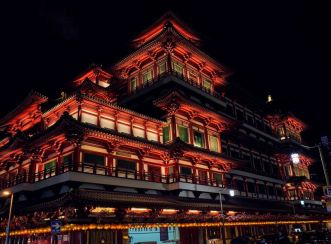 Buddha Tooth Relic Temple at night from the side - AFTER