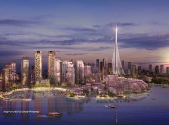 The Tower at Dubai Creek Harbour - view from harbour - Image courtesy of Emaar Properties