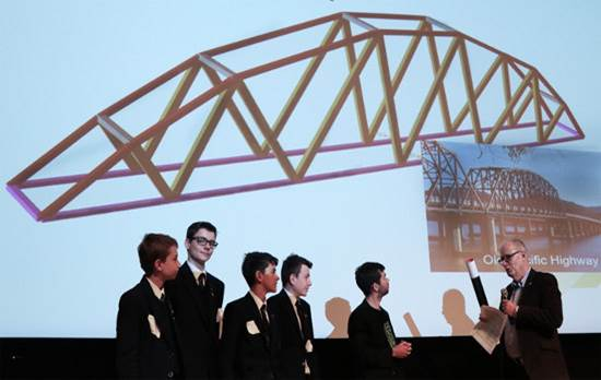 Redland High School students at the Aurecon Bridge Building Competition 2017