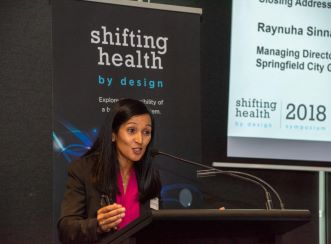Springfield City Group Managing Director Raynuha Sinnathamby holds the closing plenary session of the Aurecon-facilitated forum.