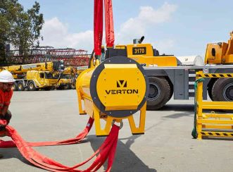 The Verton R-Series is the world's first remote-controlled electromechanical load-management system that provides immediate safety and productivity benefits with crane-operated suspended loads. Image courtesy of Verton.