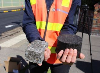 Pictured left to right: Standard asphalt showcased next to the new asphalt material for the carpark that incorporates recycled plastic material.