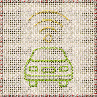 Art embroidery of car with wifi