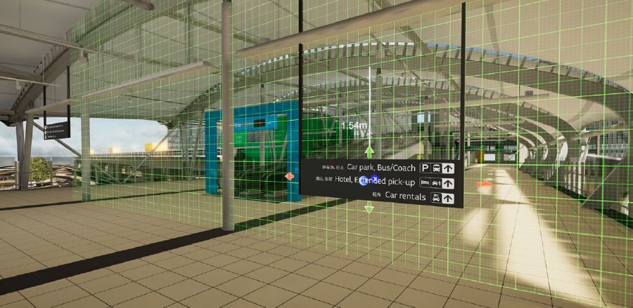 Activating the Skywalk (Domestic Terminal) to evaluate and manipulate wayfinding designs using virtual reality.