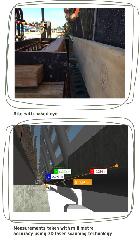 With 3D laser scanning technology, Aurecon took 3D pictures of the existing bridge down to the very last nut and bolt. The laser scanning data provided designers with millimetre-accuracy for the location of pavements, the deck, handrails and all the other infrastructure elements.