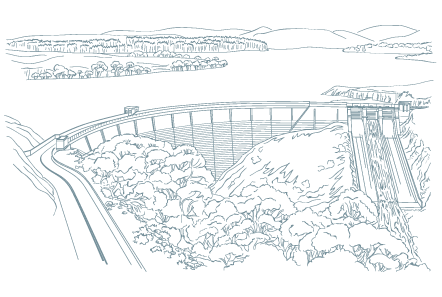 A line drawing of a dam