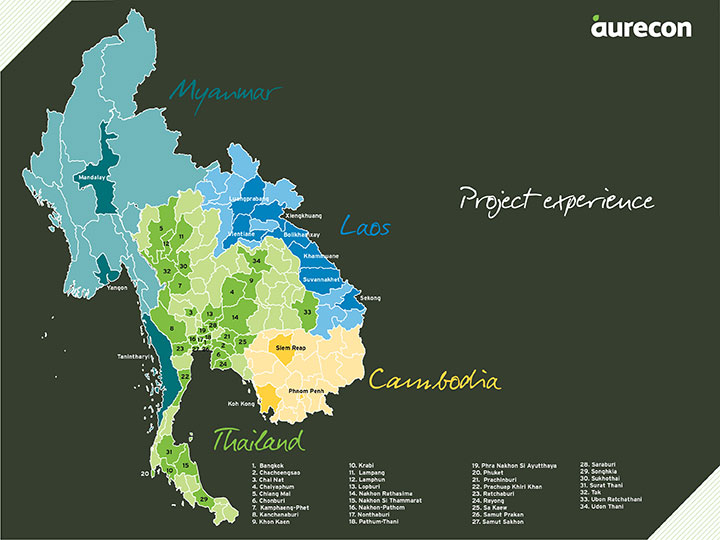 An infographic showing Aurecon's project involvement in Thailand