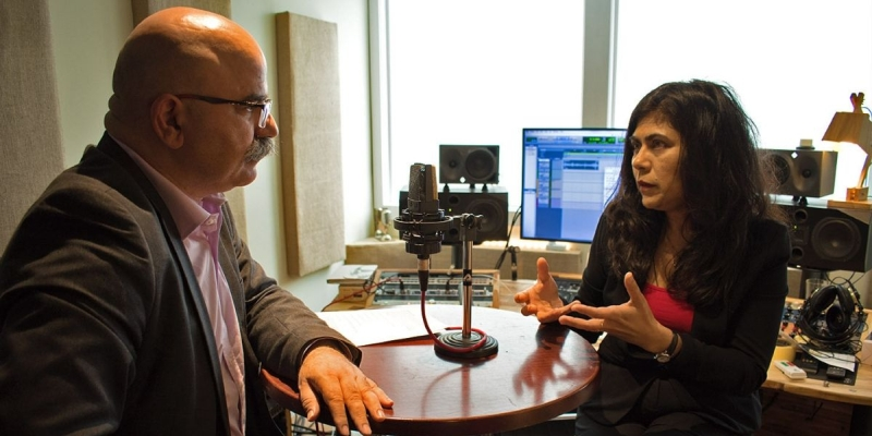 Kourosh Kayvani and Veena Sahajwalla recording their podcast