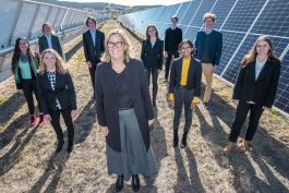 Professor Peta Ashworth, Director of the Andrew N. Liveris Academy for Innovation and Leadership and UQ Chair in Sustainable Energy Futures, with students at the opening of Warwick Solar Farm. Image courtesy of Glenn Hunt.