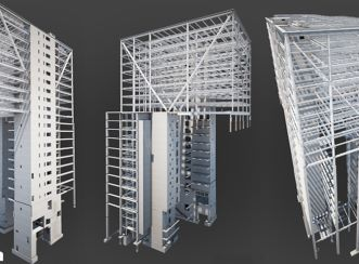 Structural models (left to right): Southwest view, Northwest view, Southeast/East view