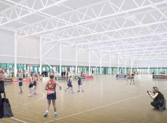 Taiwhanga Rehia will include five hydroslides, fitness spaces, a competition court and nine community indoor sports courts.
