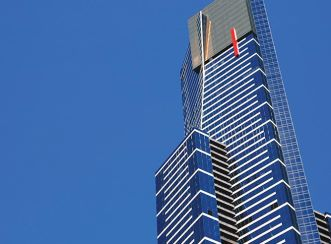 Eureka Tower rises 300 metres and 88 storeys above Melbourne