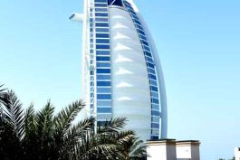 View of Burj Al Arab from guest room in Al Naseem Resort