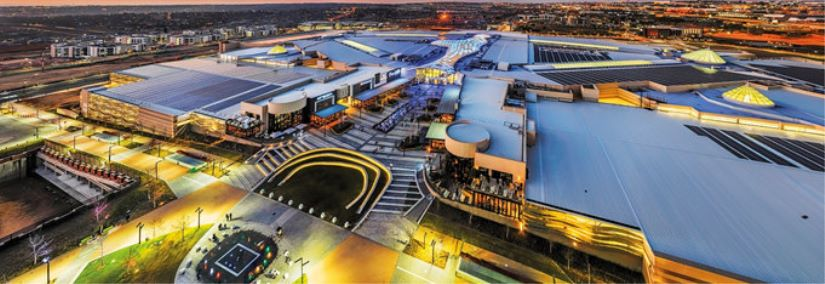An aerial view of the spectacular Mall of Africa