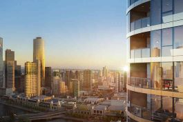 Melbourne Quarter residential tower with Yarra River view beyond. Image courtesy of Studio Magnified (acq. by Aurecon 2018)