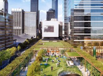 Skypark overlooking Collins Street. Image courtesy of Studio Magnified (acq. by Aurecon 2018).