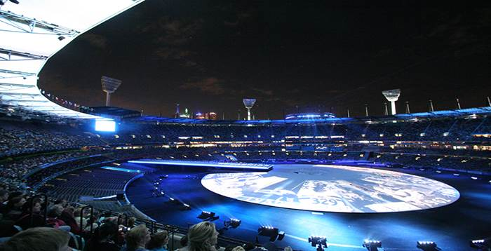 Melbourne Cricket Ground - game at night