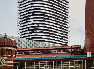 Swanston Square Apartment Tower from behind the Carlton and United Brewery
