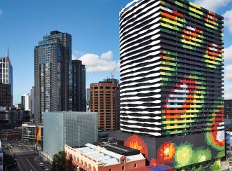Swanston Square Apartment Tower facade based on colourful topographical map