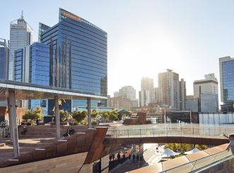 Yagan Square connects thousands of workers and residents with public transport and walking routes between the CBD and Northbridge. Image courtesy of Peter Bennetts