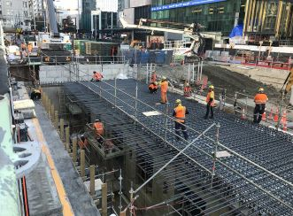 Preparing to pour the concrete roof for the tunnels constructed in Lower Queen Street in Auckland's CBD