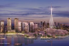 The Tower at Dubai Creek Harbour artist render view from harbour. Image courtesy of Emaar Properties.