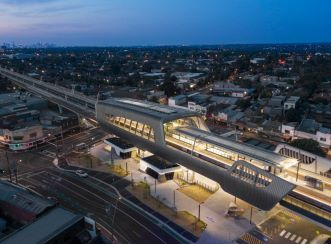 Murrumbeena Station at dusk. Image courtesy of Peter Clarke Photography