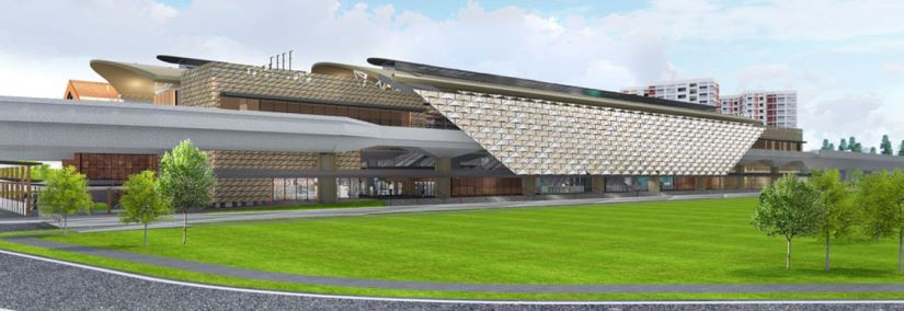 Design and Construction of Choa Chu Kang Station, exterior view of the station along CCK Loop. Image courtesy of Land Transport Authority and Ong & Ong.