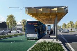 Airport to Botanty – Te Irirangi Station Close Up (Artist's Impression). Image courtesy of Unsigned Studio, Aurecon.