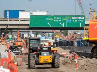 Four extra lanes are being constructed between the M80 Ring Road and Williamstown Road in Melbourne.
