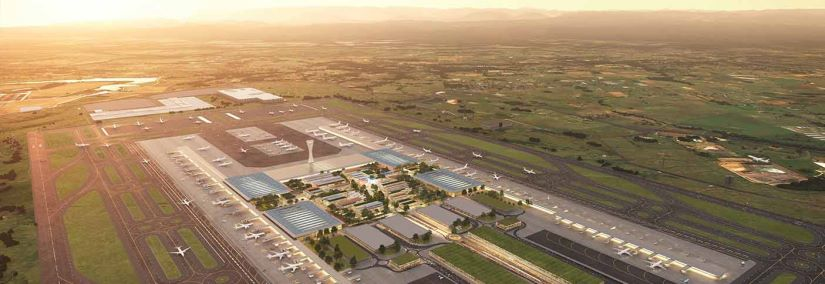 Aerial view of the terminal at dawn. Image courtesy of Western Sydney Airport