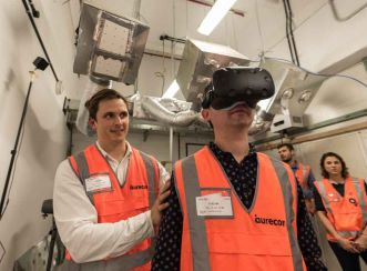 Prototype testing in progress using virtual reality googles for Wynyard Station
