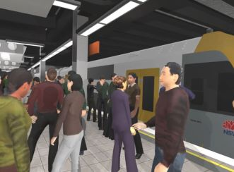 Virtual reality video capture of Wynyard Station platform with prototype diffusers suspended from ceiling