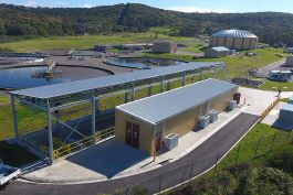 Aerial view from the north of the UV Plant. Aurecon's innovative design provides a solution that will help treat wastewater and meet industry standards.