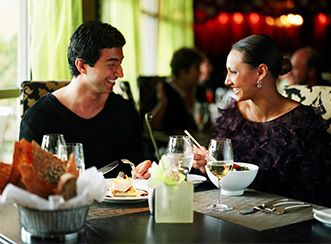Couple dining in a hotel restaurant