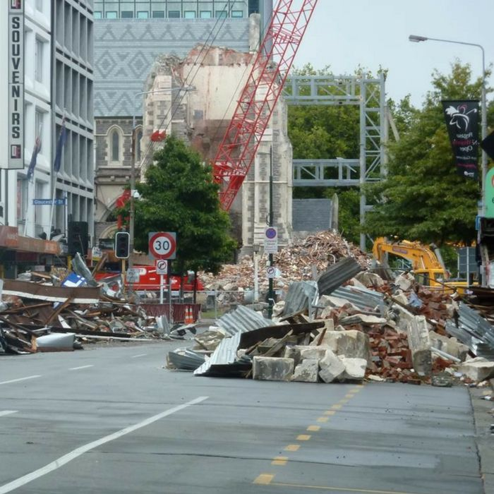 Rubble in a Christchurch street