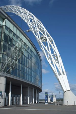 A photo of Wembley Stadium's arch