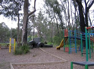 The playground at Chum Creek Primary was the edge of the flame zone