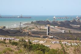 A coal mine close to a port