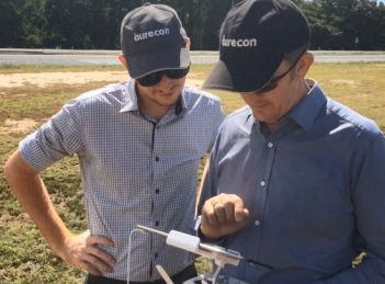 Aurecon team operating the drone using a programmed flight path
