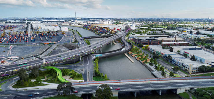 Visual render of the Maribyrnong Bridge and Northern Tunnel portal for the West Gate Tunnel project.