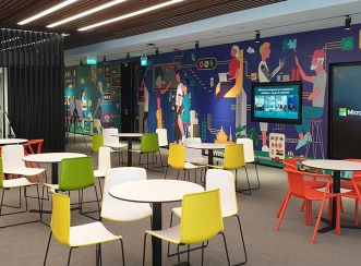 Highlighting a bright and cheery collaboration space at Microsoft's office in Singapore - photo by Annie Eng
