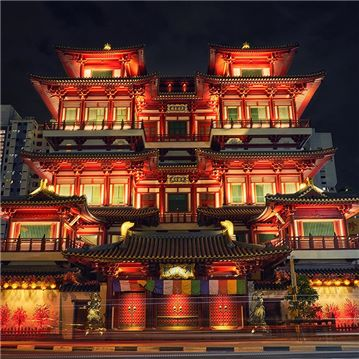 Buddha Tooth Relic Temple in Singapore – after lighting design upgrade - photo by John Scott