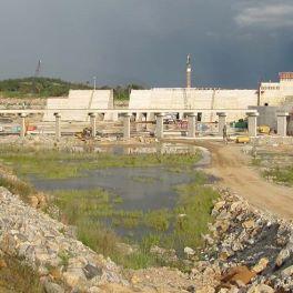 Kashimbila Dam downstream view of spillway with spillway bridge